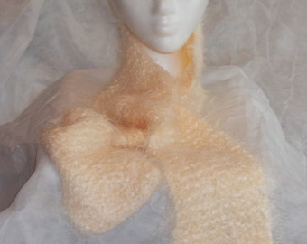 Hand Knitted Scarf, Light Cream Color Scarf, Interesting Textured Eyelash Scarf, Very Soft, Medium Length, Stretchy, Women, Neutral Color