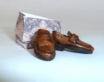 shoes men's brown leather loafers dollhouse miniature 1/12 scale