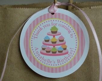 Cupcake Theme Favor Tag - Cupcake Theme - Thank You Favor Tags - Set of 12