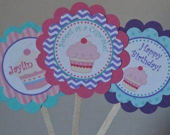 Cupcake Theme Cupcake Toppers - Cupcake Baby Shower - Pink Cupcake Them  - Cupcake Party - Set of 12