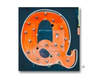 Letter Art, Letter Q Alphabet Art, Vintage Vegas Neon Sign Letters