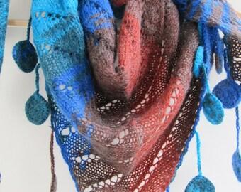Handmade crochet and handknitted shawl