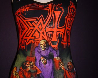 DEATH diy cami tank top death metal band reconstructed  Scream Blood Gore shirt singlet  xs s m l