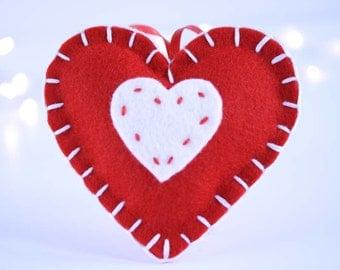 Christmas wool felt ornament - White heart on red heart