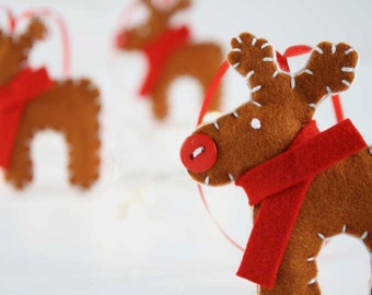 Set of 3 wool felt reindeer Christmas ornaments