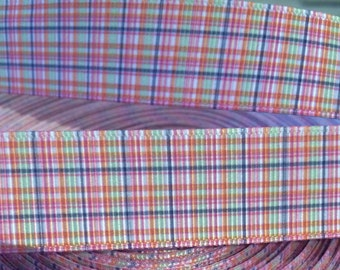 "3 YARDS 7/8"" Preppy Mini Madras Plaid grosgrain ribbon"