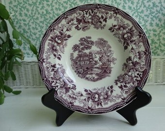 """Royal Staffordshire  """"Tonquin""""  Purple Transferware 8 inch Soup Bowl. Clarice Cliff Design. Made in England."""