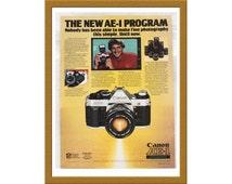 "1981 Canon AE-1 Program Color Print AD Advertising / 35mm Film slr Camera / 7"" x 10"" / Original Advertisement / Buy 2 ads Get 1 FREE"
