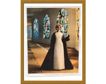 "1961 Vintage Color Print / 1960s Paris Fashion satin ball gown / 9"" x 12"" / Buy 2 ads Get 1 FREE"