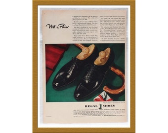 "1943 Regal Shoes AD / Not a Pair / Original Print Ad / 9 7/8"" x 13 1/4"" / Buy 2 ADS Get 1 FREE"