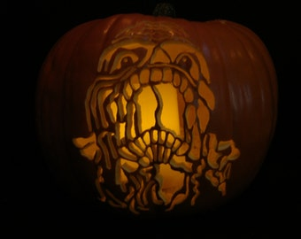 Custom Carved Pumpkin Zombie