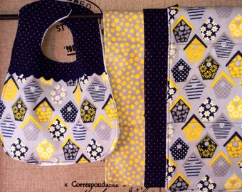 Gender Neutral Baby Shower Gift Set: 3 Burp Cloths 1 Bib in 100% soft cotton flannel. Bird Houses, navy pin dot and cheery yellow
