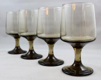 Libbey Rock Sharpe Tawny Accent / Smokey Brown* Mid Century Smokey Brown Goblets * Retro Barware / Stemware / Glasses * Set of 4