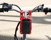 Cell Phone storage holder pocket for Bike, Bike bag, Bike basket, key and small change storage | yellow Reflector, red dots, clear dots
