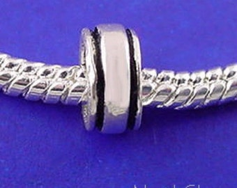 BANDED BORDER European Spacer Charm Bead .925 Sterling Silver