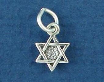 JEWISH STAR Of David Charm, MINIATURE Small .925 Sterling Silver Charm