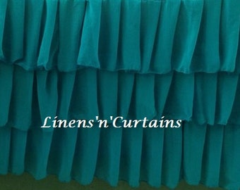 Teal Light Weight 4 Sided Ruffle Layered Crib Bedskirt