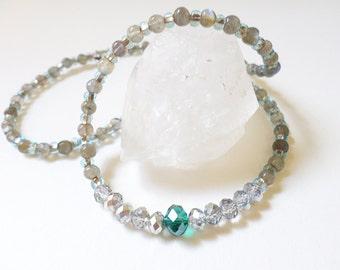Labradorite Swarovski Beaded Gemstone Necklace