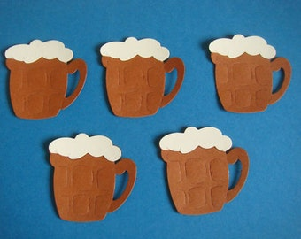 10 Beer Mugs Die cuts with froth for mens/boys male themed cards-toppers assembled cardmaking scrapbooking