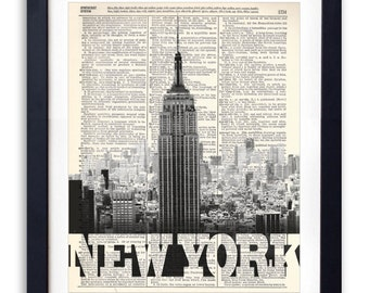 Empire State Building New York City With BOLD Name Upcycled Dictionary Print Repurposed Recycled Dictionary Page - Buy 2 Get 1 FREE