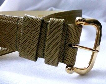 Green Leather Belt  - Medium -Small - Ladies 90s Lizard Gold Buckle Fashion Belt - Made in Canada