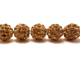 5 Gold Pave Beads, 10mm Gold Pave, 10mm Pave Beads, Shamballa Beads, 10mm Gold Beads, Gold Shamballa Beads, Gold Disco Ball Beads, T-103E