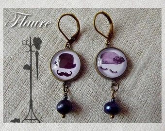 """""""A man and a woman"""" cabochons earrings"""