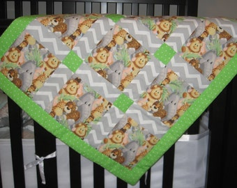 Infant to Toddler Quilt Set. Baby Zoo Animals. Tag Blanket. Stroller/Car Seat Quilt. Toddler Conforter. 3 Piece Set. Gray Chevron, Green Dot