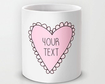 Personalized mug cup designed PinkMugNY - Pink Heart with Your Text