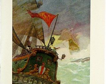 N. C. Wyeth Full Color Vintage Print Illustration 1924 * England Westward Ho! Childrens Lithograph Juvenile Adventure Book Page Ship