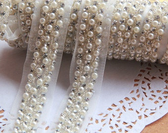 Pink Beaded Trim - white Bead Insertion Trim-beaded trim for edging