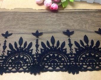 Vintage wedding Cotton Embroidery lace ribbon ,Black Lace Trim