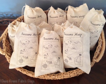 "10 Treasure Map Bags - 5x7 6x8 7x9 7x11"" - Custom - Kids Party Favor Bags - Pirate theme - Geocaching - Drawstring Bags - Organic Cotton"