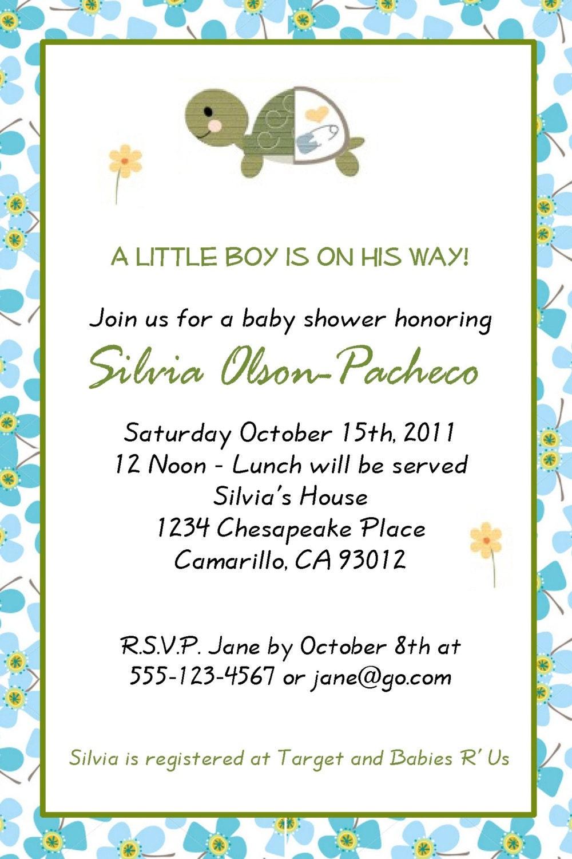 turtle theme baby shower invitation