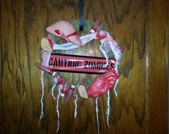 "14"" Halloween Zombie wreath"