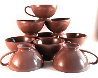 Vintage TexasWare Chocolate Brown Coffee Cups