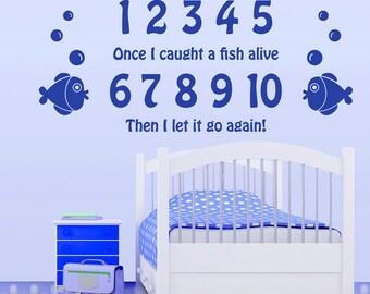 12345...Nursery Rhyme Wall Sticker Bedroom Nursery Children's Vinyl Transfer Decoration Fish Wall Art