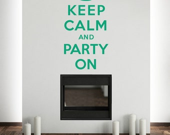 Keep Calm And Party On Wall Sticker Crown Decal Vinyl Transfer Retro Home British Wartime Quote Art Decoration