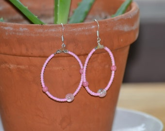 Round pink simple everyday earrings