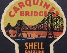 Shell Gasoline 1920s Travel Decal Magnet for CAQQUINEZ BRIDGE. Accurate reproduction & hand cut in shape as designed. Nice Travel Decal Art.