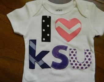 Kansas State Wildcat Bodysuit, Kansas State Wildcat Baby Outfit, KSU Shirt