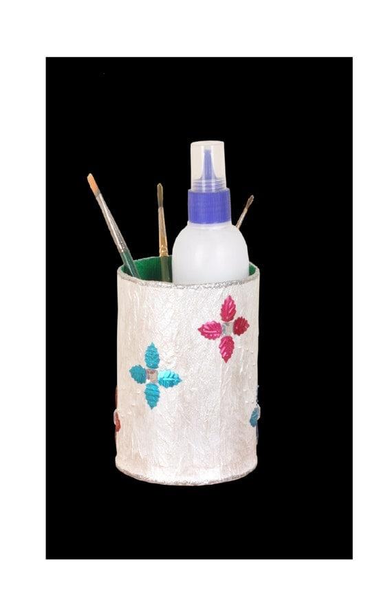 Handmade Pen Stand Designs : Items similar to white handmade pen holder floral design