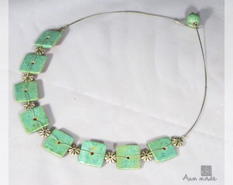 Handmade ceramic necklace, small squares,turquoise, orld silver enamel