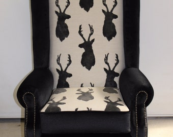 Stunning bespoke high back wing chair . Australian made . French provinical  Copy