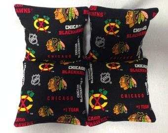 CHICAGO BLACKHAWKS 4 Cornhole Bags NHL Print 2 Sides