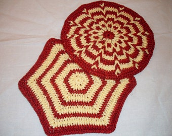 Pait of hand crocheted cotton Pot Holders