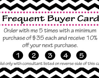 """Thirty-One business card """"Frequent Buyer"""" back"""