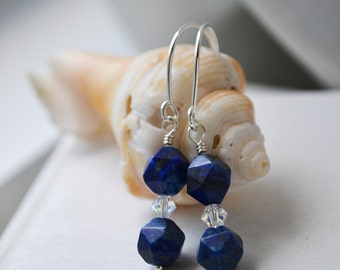 Lapis, Crystal and Sterling Silver Long Earrings Handmade