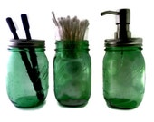 Spring Green Foaming Mason Jar Bath Set , Foaming Soap Dispenser, Toothbrush Holder