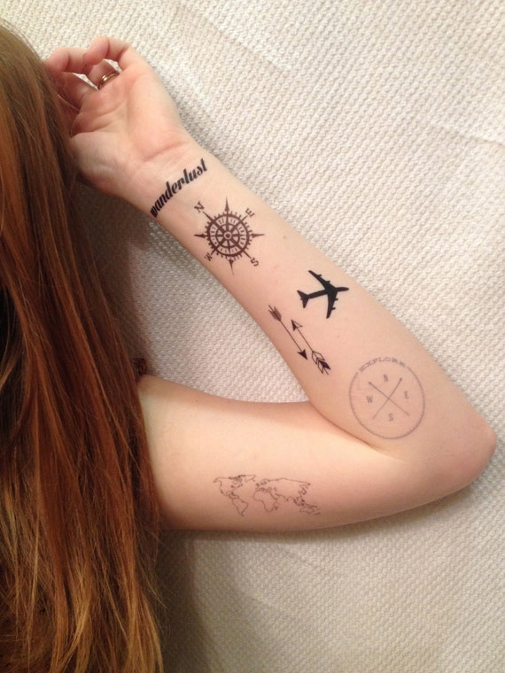 6 Travel Temporary Tattoos Pack - SmashTat